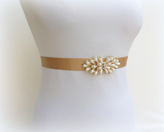 Gold elastic waist belt. Ivory pearls belt. Rhinestone belt. Dress belt. Brideal belt. Bridesmaids belt. Stretch belt. Pearls belt.