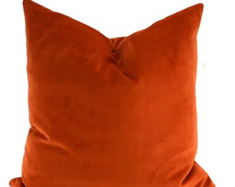 Orange Sueded Velvet Throw Pillow Cover, Burnt Orange Velvet Pillow Cover, 18x18, 20x20, 22x22, 24x24