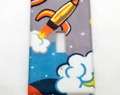 Rocket Ship Fabric Covered Single Light Switch Cover / Switch Plate / Baby Shower Gift / Nursery Decor / Outer Space / Bedroom / Kid's