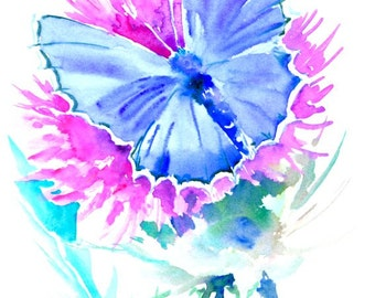 Blue Butterfly and Thistle Flower