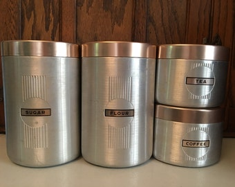 Retro Aluminum and Pink Kitchen Canister Set, Rose Gold Canisters