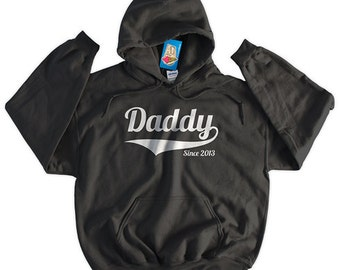 Daddy Since New Dad New Baby Announcement Christmas Family Gift Dad Screen Printed Hoodie Hooded Sweatshirt Mens Womens Ladies  Funny Geek