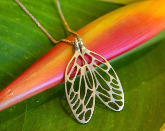Baby Cicada Wing Necklace in Sterling Silver - Nature Jewelry - Insect Jewelry - Delicate Necklace