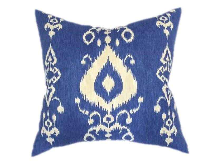 Blue Ikat Pillow Cobalt Blue Navy and Cream Designer Pillow