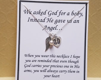 Miscarriage Gift God Gave Us an Angel Keepsake Necklace Sterling Silver
