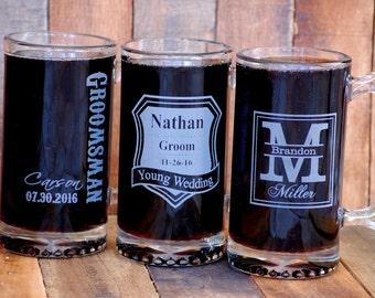 Mens Gift Ideas, Beer Stein Gift for Groomsmen Beer Mug Husband Gift, Boyfriend Gift, Best Man Gift, Gifts for Men, Groomsman Engraved Glass