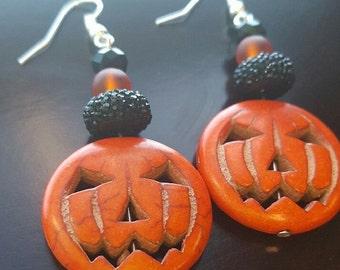 Statement Earrings Halloween Pumpkin Dangle Chandelier Earrings Crystal Earrings Halloween Earrings Weddings Bridesmaids Chunky Earrings