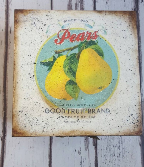 Lovely handcrafted Tea Box wooden tea caddy, vintage pear graphic. kitchen decor, wooden storage, cookie box,  perfect gift, decoupaged