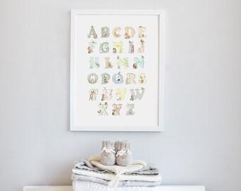 Alphabet Print, UNFRAMED Nursery Art, Whimsical, Kid's Picture, Alphabet Poster, Children's unisex, Woodland theme, Nursery decor,