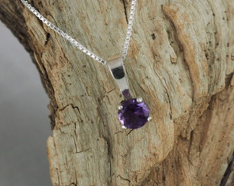 Sterling Silver Pendant/Necklace  Purple Amethyst Pendant/Necklace - Sterling Silver Setting with a 5mm Natural African Amethyst Gemstone
