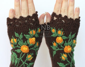 Knitted Fingerless Gloves, Roses, Brown, Orange, Yellow, Clothing And Accessories, Gloves & Mittens, Gift Ideas, For Her,