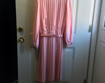 Vintage Pink Pleated Evening Dress Made in USA