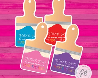 Art Party Thank You Tags, Art Party Favor Tags, Paint Brush Tags, Paint Brush Favor Tags, Paint Brush Thank You Tags, Art Party Favors Paint