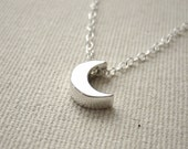 Small Moon Sterling Silver Necklace - 3D Cresent Moon, Celestial Jewelry