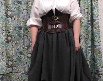 Leather under the bust corset, wench, pirate, garb, reenactment, renaissance, SCA, LARP, Cosplay, costume