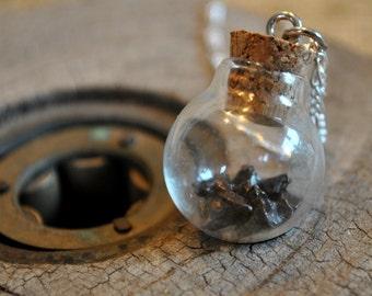 Genuine Meteorite Necklace on Sterling Silver chain, meteorite fragments, boho, minimalist, geekery