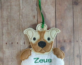 Personalized Pit Bull Dog Ornament, Acrylic Felt with Custom Embroidered Name or Word on Bone Shape, Great Christmas Gift, Made in USA