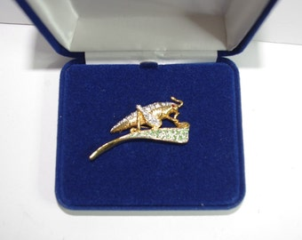 Jackie Kennedy 24K GP Brooch - Grasshopper with Crystals, Box and Certificate