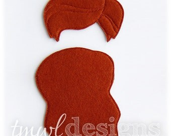Amelie Wig Felt Paper Doll Toy Accessory Digital Design File - 5x7 - Fundraiser