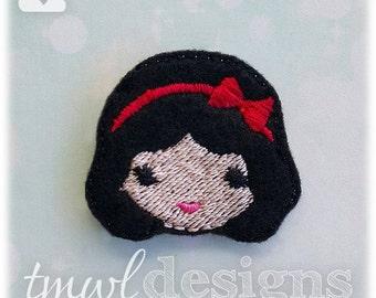 "Emoji Princess Snow White Feltie Digital Design File - 1.75"""