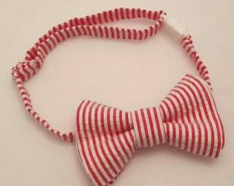 Boys Red/White Seersucker Bow Tie, Red Striped Bow Tie for Baby, Red Boy Bow Tie, Red Striped Bowtie, Bow Tie for Boy Seersucker Baby Bowtie