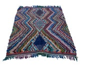 "71""x55"" Vintage Moroccan Rug Woven Using Different Scraps Of Used Textiles / Boucherouite / Boucherouette"