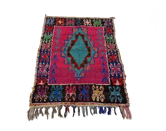 """75""""X43"""" Vintage Moroccan rug woven by hand from scraps of fabric / boucherouite / boucherouette"""