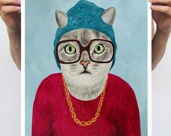 Cat Poster, Art Poster Digital Art Original Illustration Giclee Print Wall art Wall Hanging Wall Decor Animal Painting, Rapper cat