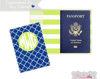 Personalized Passport Holder - Heavy Vinyl with Cardstock Insert - You Choose Colors & Personalization Style - US Passport - Lattice