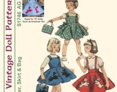 "KRVP-S1746PP, 18"" American Girl, Vintage 1950's Poodle Skirt Dress PATTERN, Printed Pattern"