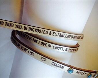 CUSTOM Mother's prayer Ephesians 3:17-19 triple wrap bracelet.  Gifts for mom, mother's day gift, baby gift