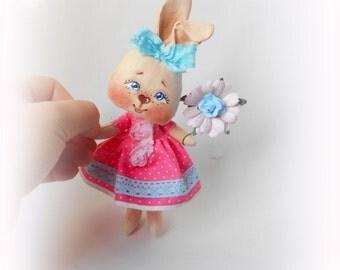 LittleDoll, Rabbit doll, Cloth Doll, art doll,handmade,Rabbit Toy,animal toy,bunny doll