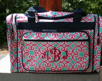 Girls Monogrammed Pink Mint Floral Small Duffel Bag Girls Personalized Floral Overnight Bag