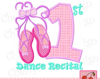 My 1st Dance Recital Ballet shoes Machine Embroidery Applique Design-4x4,5x5,6x6 inch
