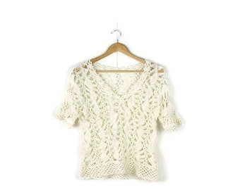Vintage White  Crochet Short sleeve Top from 1990's/Hippies /boho*