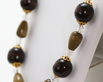 Elegant Brown and Gold Wood Beaded Necklace, Brown Wood Bead Necklace, Brown Wood Victorian Necklace, Brown Wood Lightweight Necklace