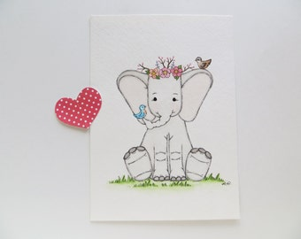 Sing Me a Lullaby, nursery decor, nursery painting, watercolor painting, original painting, baby elephant, childrens wall decor,