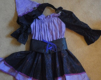 Halloween Witch, Girl's Purple Witch Costume,One of a kind, Witch Dress, Size 5/6 Witch Costume, Party Costume, Flouncy Witch Costume