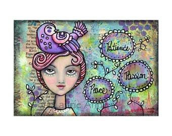 Inspiration Art Print of Original Mixed Media Painting, Modern Folk Art Expressive Woman with Purple Bird, Low Brow, Illustrated Faith