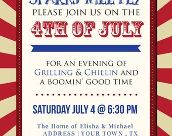 4th of July BBQ invitation - print yourself - digital file only