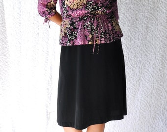70s Midi Peplum Shirtress | Boho Day Dress. Mod Secretary Dress. Purple Violets Floral Shirtdress. Hippie Knee Length Party Dress | medium