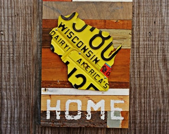 """Wisconsin Vintage License Plate """"Home"""" Sign On Reclaimed Wood - The Reclaimed Home Collection"""