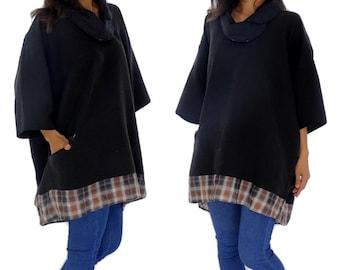 HE400SW Tunika Plus Size Bluse Gr. 42 44 46 48 50 52 54 Schwarz