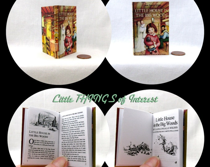 LITTLE HOUSE In The Big WOODS Illustrated Book in 1:3 Scale Readable Book American Girl Doll Laura Ingalls Wilder 18 inch Ag Doll 1/3 Scale