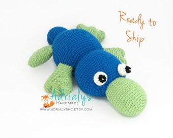 Crochet Platypus- Crochet Animals, Pink Toys, Blue Toys, Stuffed Platypus, Australian Animals, Handmade Platypus, Crochet Toy- Ready to Ship