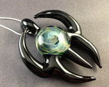 Silver and Gold Fumed Chaos Pendant, Black Horns