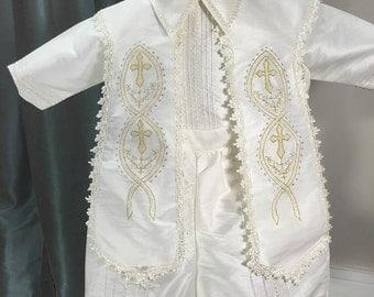 Liam Ivory Baptism outfit for Boy, Four piece Christening set, Blessing outfit, Traje de Bautizo, Ropon para nino, Ajuar Bautismal