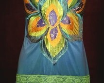 Peacock Fancy! Beautiful upcycled slip dress gown boho burlesque