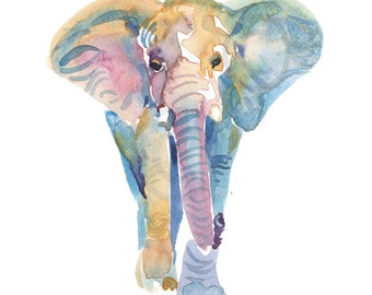 Elephant  -  Watercolor Elephant - size 8x10in  - Watercolor  Painting - Animal Art Print
