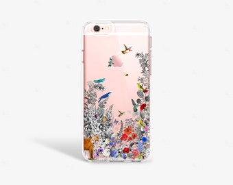 Vintage iPhone SE Case Clear Floral iPhone 6s Plus Case Tough Vintage Floral iPhone Case Transparent iPhone 6 Plus Case Samsung S7 Case